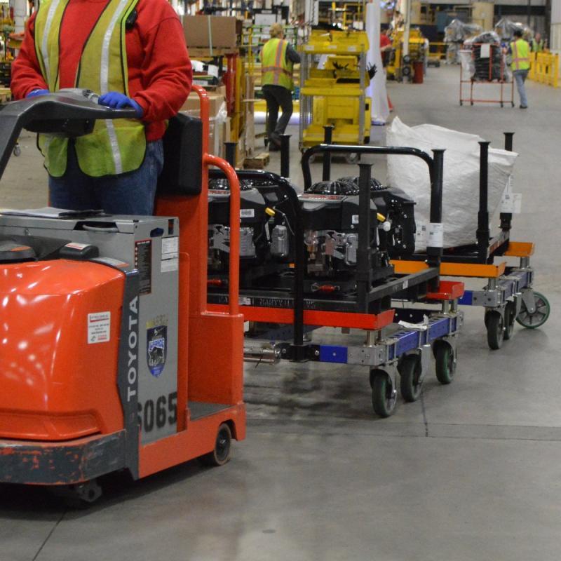 FlexQube tugger carts in a tugger train